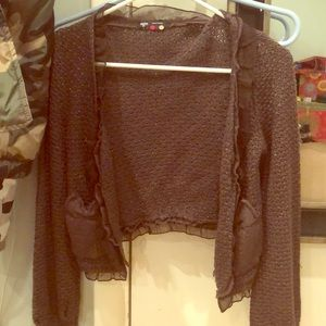 brown cardigan with sparkles